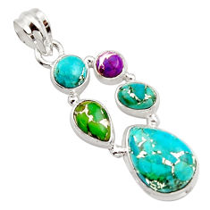 9.63cts multi color copper turquoise 925 sterling silver pendant jewelry r18341