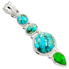 10.01cts multi color copper turquoise 925 sterling silver pendant jewelry r18342