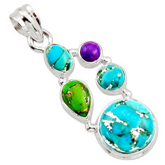 11.30cts multi color copper turquoise 925 sterling silver pendant jewelry r18343