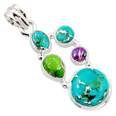 925 sterling silver 11.02cts multi color copper turquoise pendant jewelry r18344