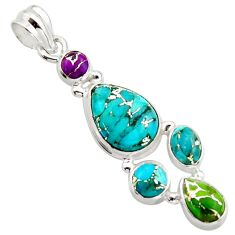 10.25cts multi color copper turquoise 925 sterling silver pendant jewelry r18345