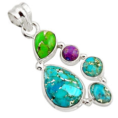 10.23cts multi color copper turquoise 925 sterling silver pendant jewelry r18346