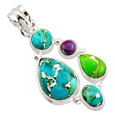 10.01cts multi color copper turquoise 925 sterling silver pendant jewelry r18348