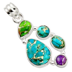 10.01cts multi color copper turquoise 925 sterling silver pendant jewelry r18349