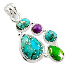 10.64cts multi color copper turquoise 925 sterling silver pendant jewelry r18350