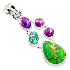 10.01cts multi color copper turquoise 925 sterling silver pendant jewelry r18352