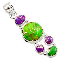 9.98cts multi color copper turquoise 925 sterling silver pendant jewelry r18353