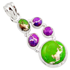 925 sterling silver 10.01cts multi color copper turquoise pendant jewelry r18355