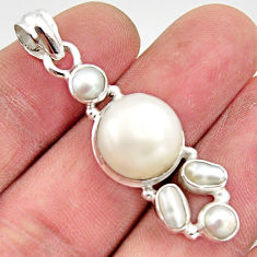 13.09cts natural white pearl 925 sterling silver pendant jewelry r18361