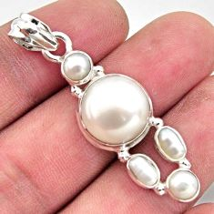 925 sterling silver 12.69cts natural white pearl round pendant jewelry r18368
