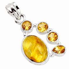 925 silver 10.60cts natural golden tourmaline rutile oval citrine pendant r18371
