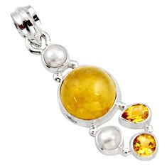 11.89cts natural golden tourmaline rutile citrine 925 silver pendant r18372