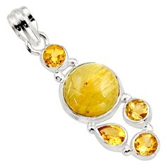 10.81cts natural golden tourmaline rutile citrine 925 silver pendant r18375