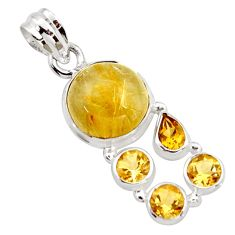 925 silver 10.68cts natural golden tourmaline rutile citrine pendant r18377