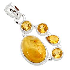 11.19cts natural golden tourmaline rutile citrine 925 silver pendant r18378