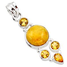 11.15cts natural golden tourmaline rutile citrine 925 silver pendant r18380