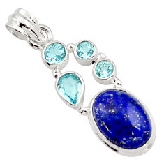 10.21cts natural blue lapis lazuli topaz 925 sterling silver pendant r18387