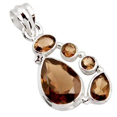 11.66cts brown smoky topaz pear 925 sterling silver pendant jewelry r18403