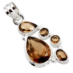11.21cts brown smoky topaz 925 sterling silver pendant jewelry r18404