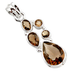 11.62cts brown smoky topaz 925 sterling silver pendant jewelry r18408