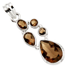 11.64cts brown smoky topaz 925 sterling silver pendant jewelry r18410