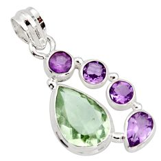 925 silver 10.81cts natural green amethyst purple amethyst pendant r18414