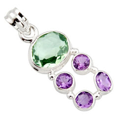 925 sterling silver 9.47cts natural green amethyst amethyst pendant r18419