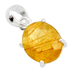 7.23cts natural faceted golden rutile 925 sterling silver pendant r18869