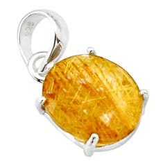 7.18cts natural faceted golden rutile 925 sterling silver pendant r18875