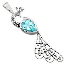 2.55cts natural blue topaz 925 sterling silver peacock pendant jewelry r18921