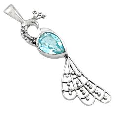 2.71cts natural blue topaz 925 sterling silver peacock pendant jewelry r18922