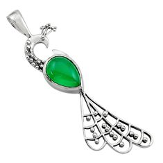 925 sterling silver 2.72cts natural green chalcedony peacock pendant r18923