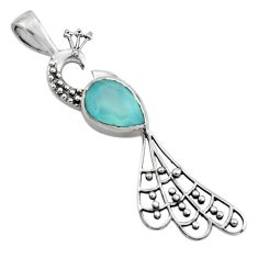 2.72cts natural aqua chalcedony 925 sterling silver peacock pendant r18926