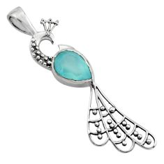 2.54cts natural aqua chalcedony 925 sterling silver peacock pendant r18928