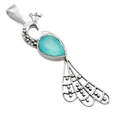 2.42cts natural aqua chalcedony 925 sterling silver peacock pendant r18929