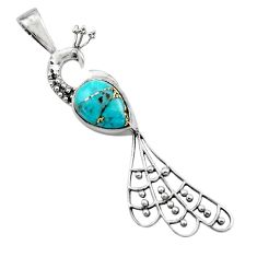2.53cts blue copper turquoise 925 sterling silver peacock pendant jewelry r18930