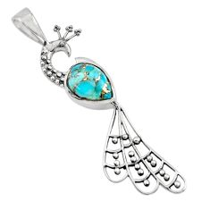 925 sterling silver 2.71cts blue copper turquoise peacock pendant jewelry r18931