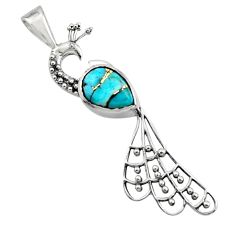2.72cts blue copper turquoise 925 sterling silver peacock pendant jewelry r18932