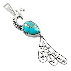 2.69cts blue copper turquoise 925 sterling silver peacock pendant jewelry r18933