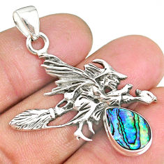 3.38cts abalone paua seashell 925 silver pentacle witches broom pendant r90448