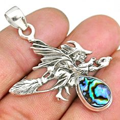 3.50cts abalone paua seashell 925 silver pentacle witches broom pendant r90453