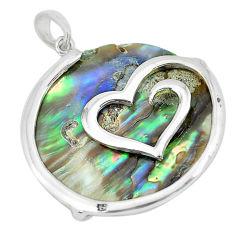 13.69cts abalone paua seashell round 925 silver heart pendant a88676 c14586