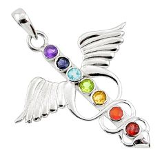 Angel wing heart balance multi gemstone 925 silver seven chakra pendant r65358