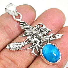 5.22cts apatite (madagascar) 925 silver pentacle witches broom pendant r90473