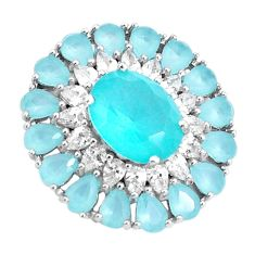8.09cts aqua chalcedony topaz 925 sterling silver pendant jewelry c19104