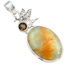 Clearance Sale- 22.59cts aquatine lemurian calcite 925 silver angel wings fairy pendant d42035
