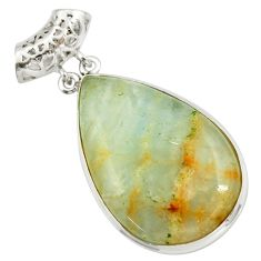 Clearance Sale- 34.33cts aquatine lemurian calcite 925 sterling silver pendant jewelry d42034