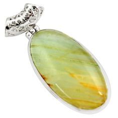 27.08cts aquatine lemurian calcite 925 sterling silver pendant jewelry d42039