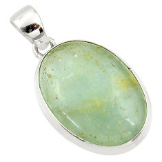 18.68cts aquatine lemurian calcite 925 sterling silver pendant jewelry r39966