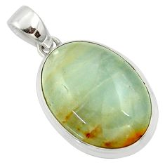 19.72cts aquatine lemurian calcite 925 sterling silver pendant jewelry r39968